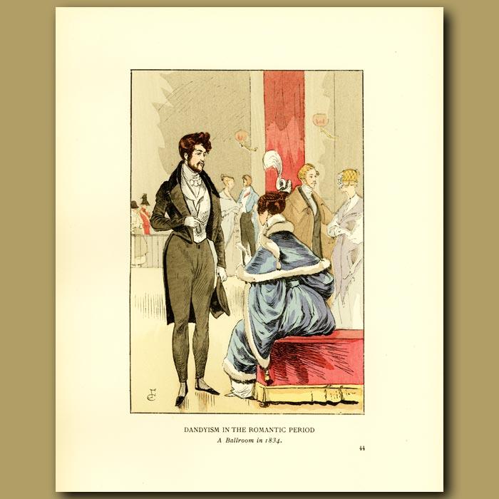 Antique print. Dandyism In The Romantic Period.