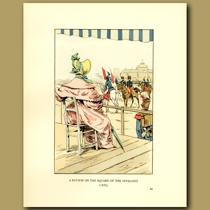 Antique print. A Review On The Square Of The Invalides