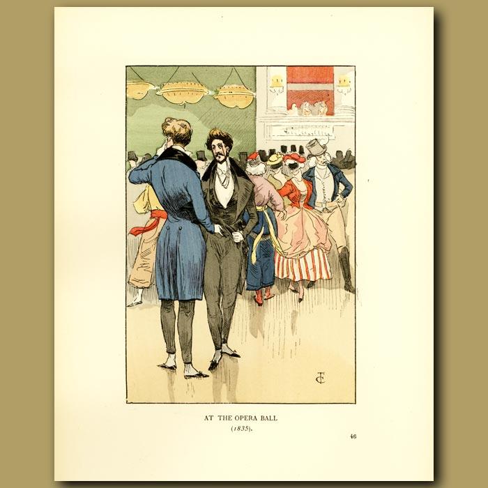 Antique print. At The Opera Ball