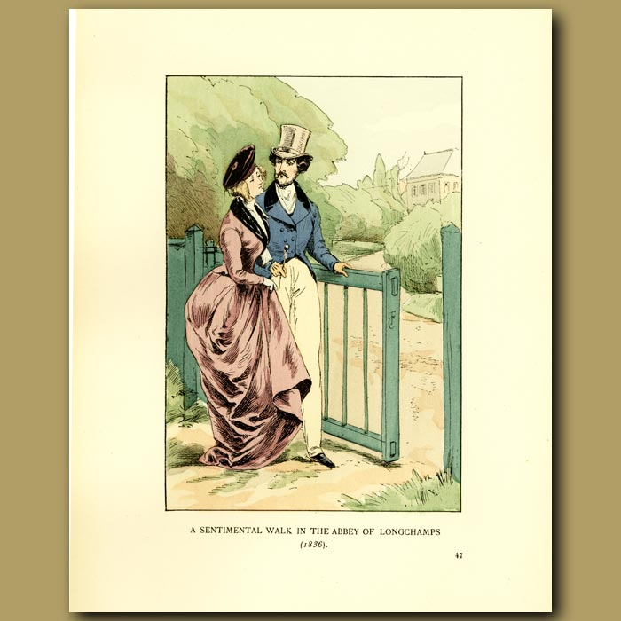 Antique print. A Sentimental Walk In The Abbey Of Longchamps