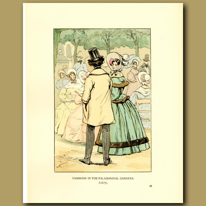 Antique print. Fashions In The Palais Royal Gardens