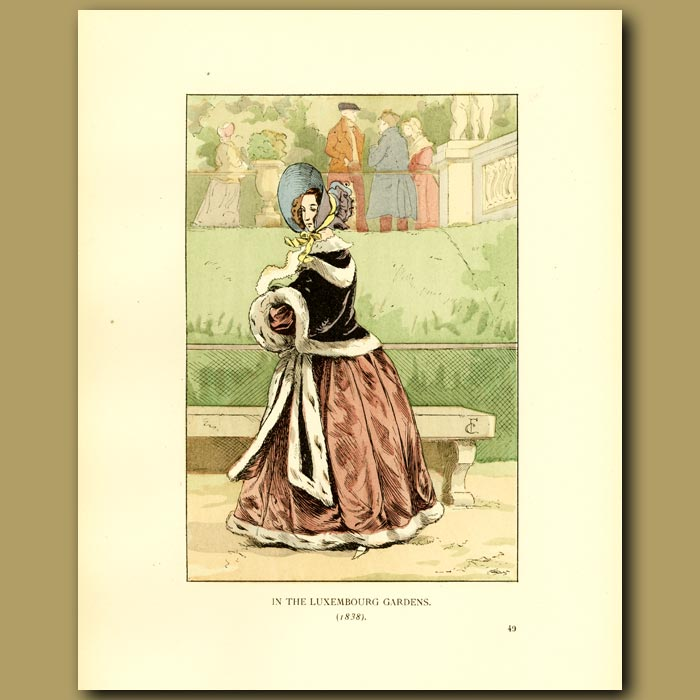 Antique print. In The Luxembourg Gardens