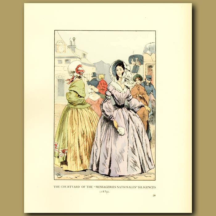 Antique print. The Courtyard Of The 'Messageries Nationales
