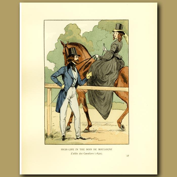 Antique print. High Life In The Bois De Boulogne L'allee Des Cavaliers