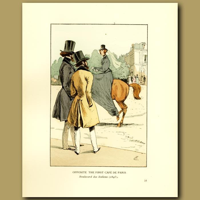 Antique print. Opposite The First Cafe De Paris, Boulevard Des Italiens
