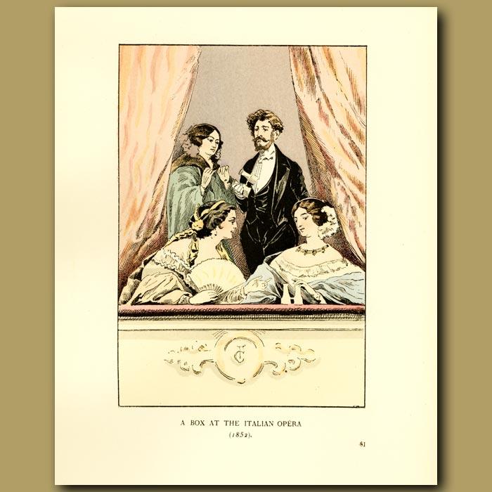 Antique print. A Box At The Italian Opera