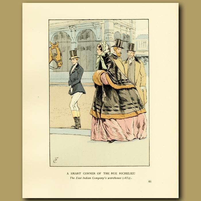 Antique print. A Smart Corner Of The Rue Richelieu.