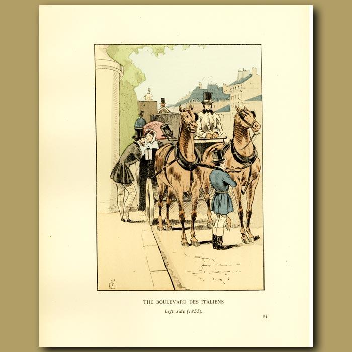 Antique print. The Boulevard Des Italiens