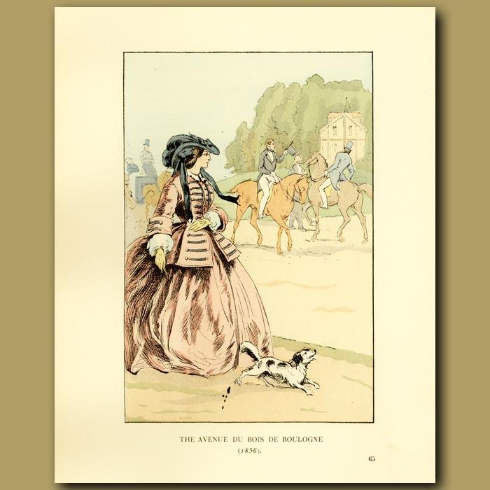 Antique print. The Avenue De Bois Du Boulogne