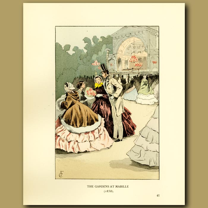 Antique print. The Gardens At Mabille