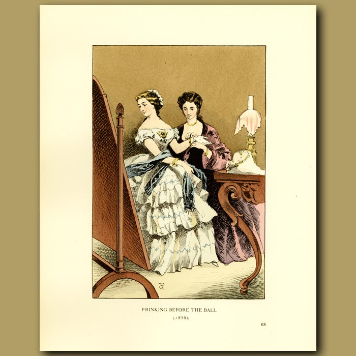 Antique print. Prinking Before The Ball