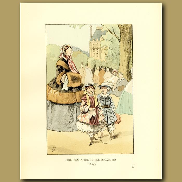 Antique print. Children In The Tuileries Gardens