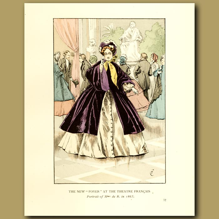 Antique print. The New Foyer At The Theatre Francais