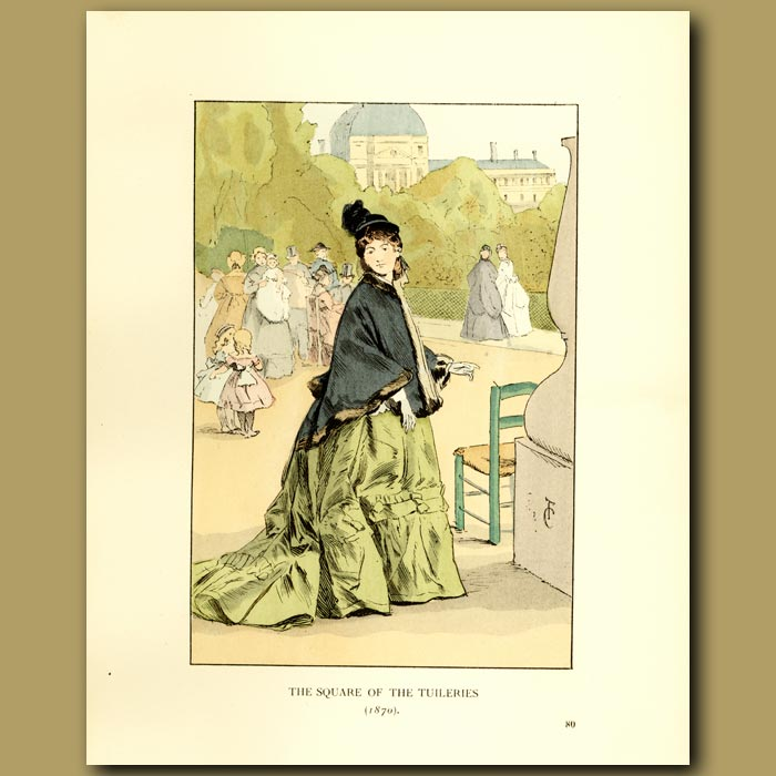 Antique print. The Square Of The Tuileries