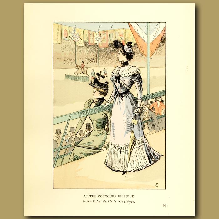 Antique print. At The Concours Hippique.