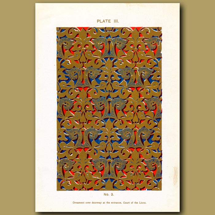 Antique print. Alhambra Palace: Ornament Over Doorway At The Entrance, Court Of The Lions