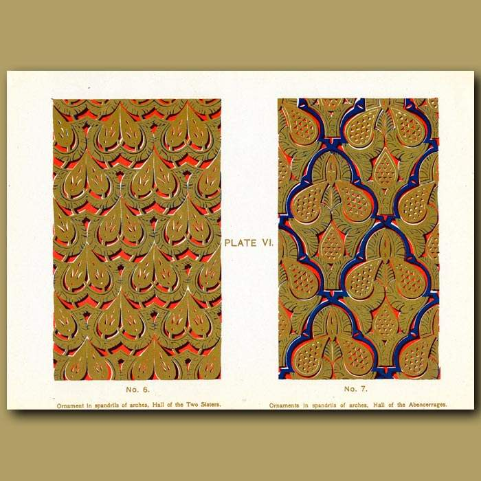 Antique print. Alhambra Palace: Ornament In Spandrils Of Arches, Hall Of The Two Sisters & Hall Of The Abencaerrages