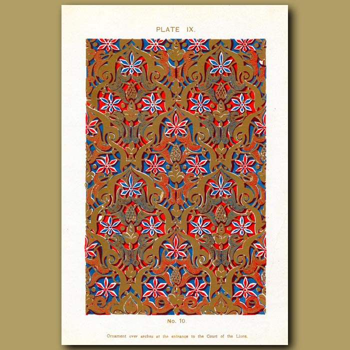 Antique print. Alhambra Palace: Ornament Over Arches At The Entrance To The Court Of The Lion
