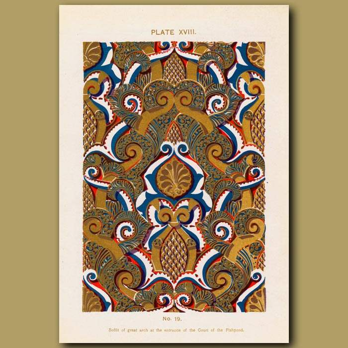 Antique print. Alhambra Palace: Soffit Of Great Arch At The Entrance Of The Court Of The Fishpond