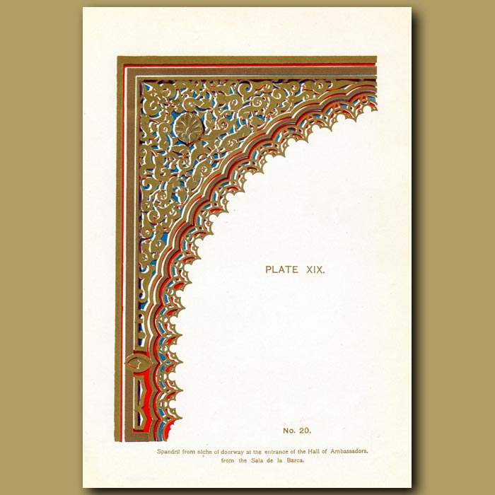 Antique print. Alhambra Palace: Spandril From Niche Of Doorway At The Entrance Of The Hall Of The Ambassadors From The Sala De La Ba