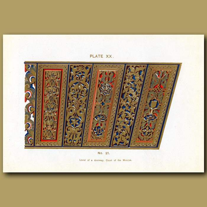 Antique print. Alhambra Palace: Lintel Of A Doorway, Court Of The Mosque