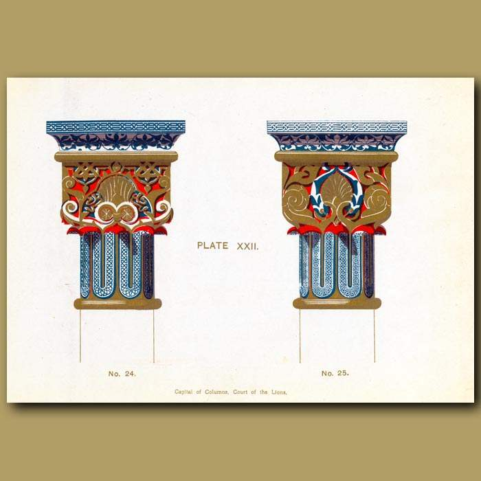 Antique print. Alhambra Palace: Capital Of Columns, Court Of The Lions