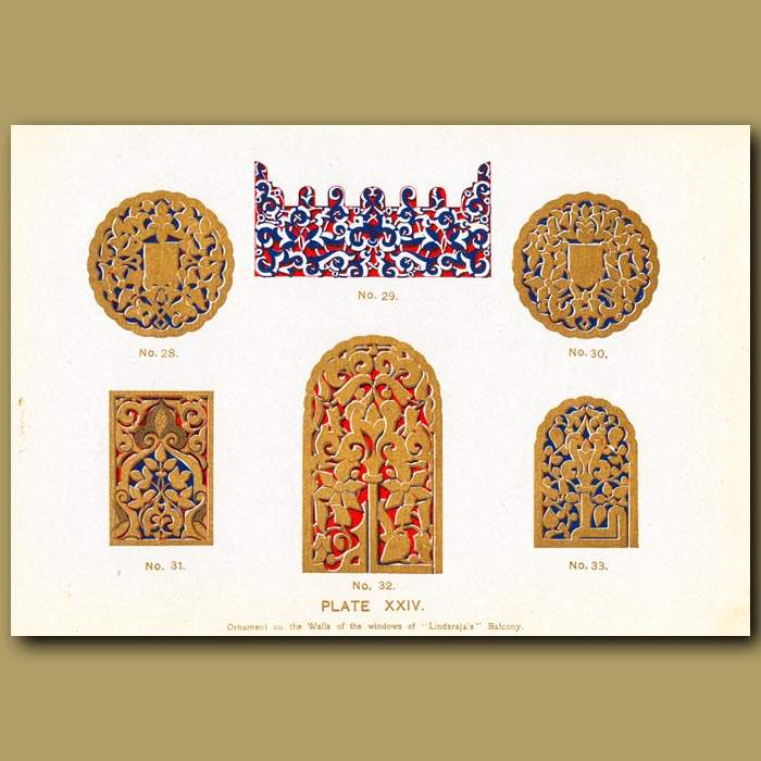 Antique print. Alhambra Palace: Ornament On The Walls Of The Windows Of Lindaraja's Balcony