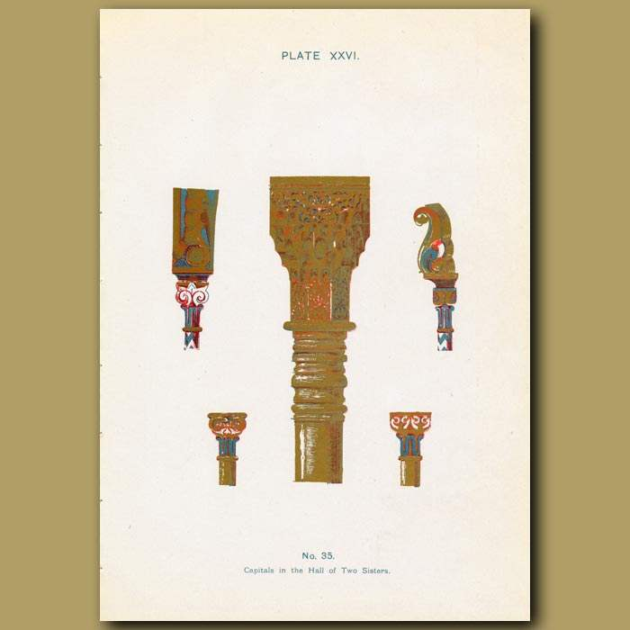 Antique print. Alhambra Palace: Capital In The Hall Of Two Sisters