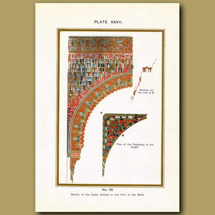 Antique print. Alhambra Palace: Details Of The Great Arches In The Hall Of The Bark