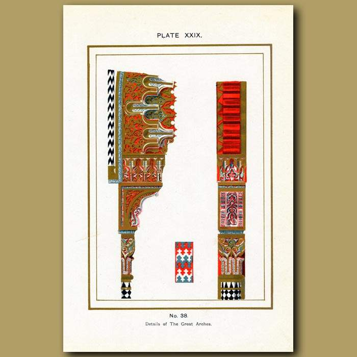 Antique print. Alhambra Palace: Details Of The Great Arches