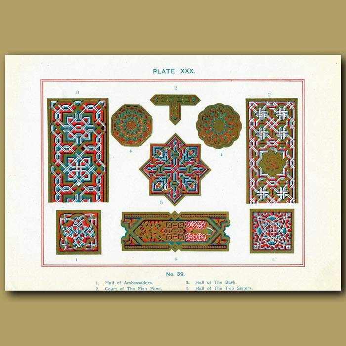 Antique print. Alhambra Palace: Frets From Different Halls