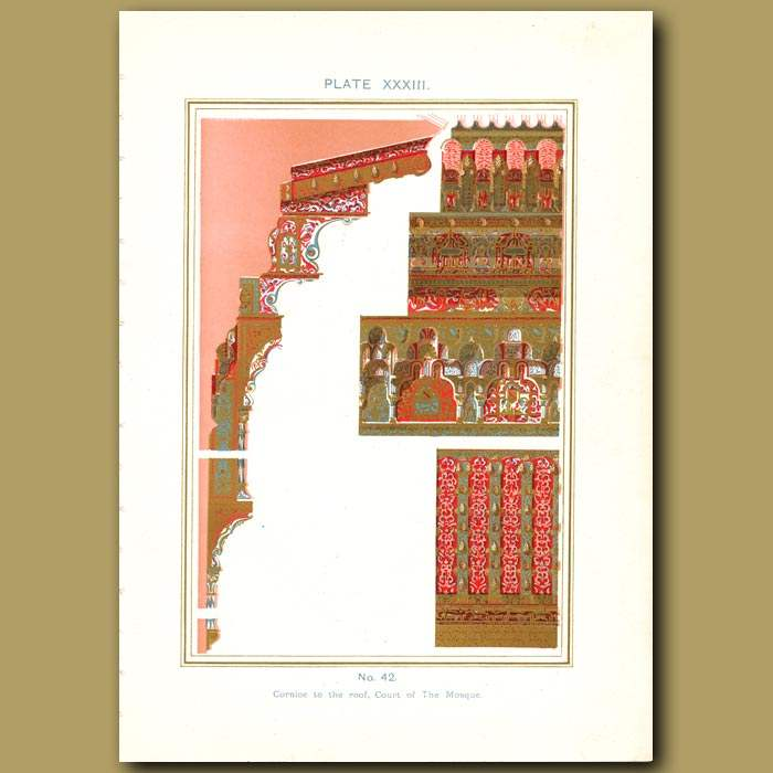 Antique print. Alhambra Palace: Cornice to the roof, Court of The Mosque