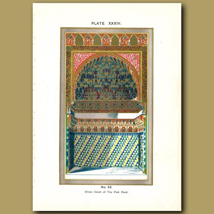 Antique print. Alhambra Palace: Divan, Court of the Fish Pond