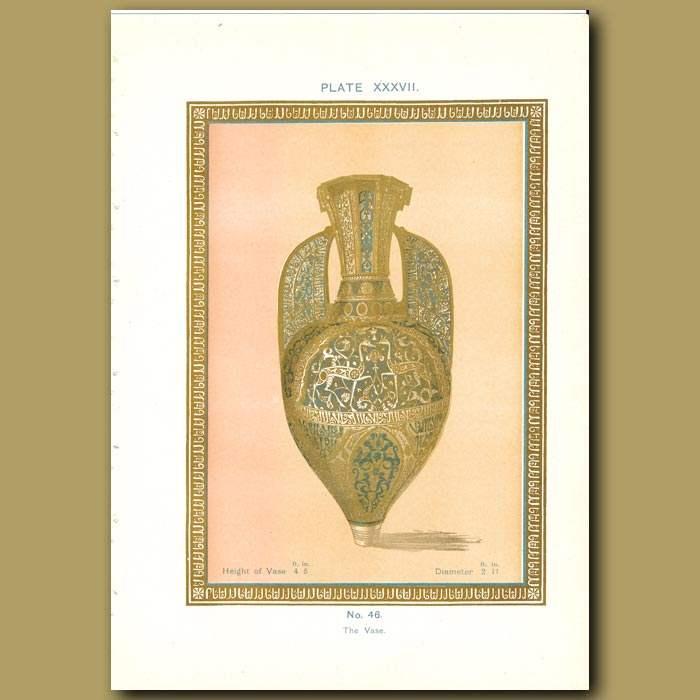 Antique print. Alhambra Palace: The vase