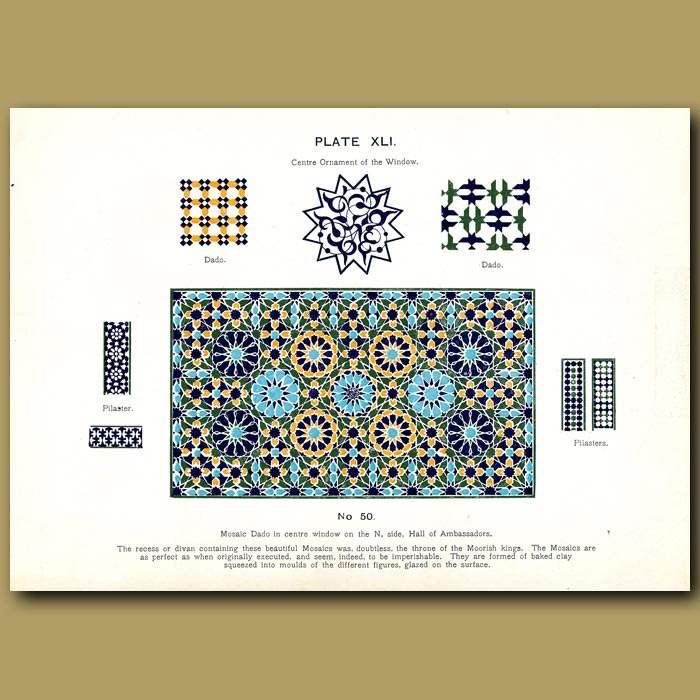 Antique print. Alhambra Palace: Mosaic dado in centre window , Hall of Ambassadors