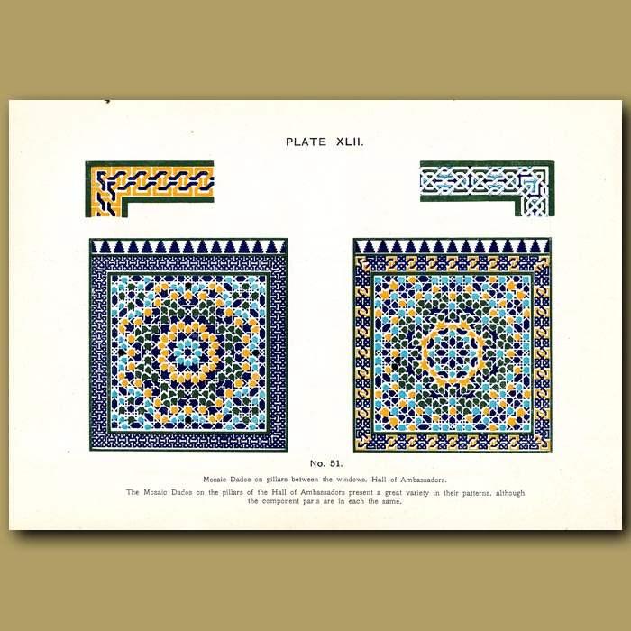 Antique print. Alhambra Palace: Mosaic dados on pillars between the windows, Hall of ambassadors