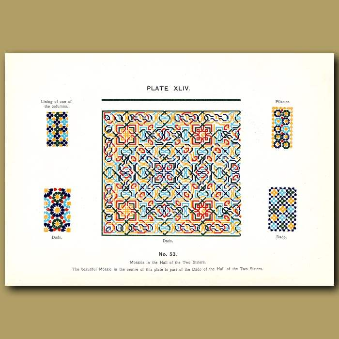 Antique print. Alhambra Palace: Mosaics in the Hall of the Two Sisters