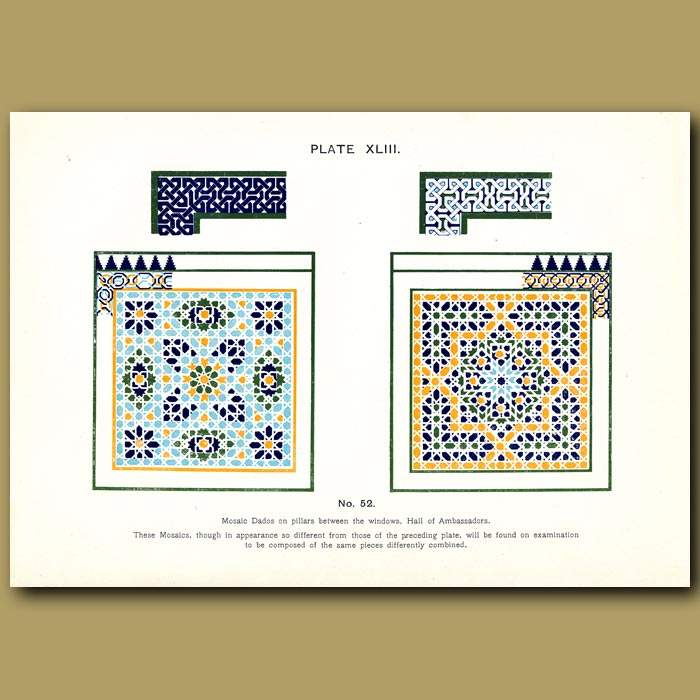 Antique print. Alhambra Palace: Mosaic dado round the internal walls of the Mosque