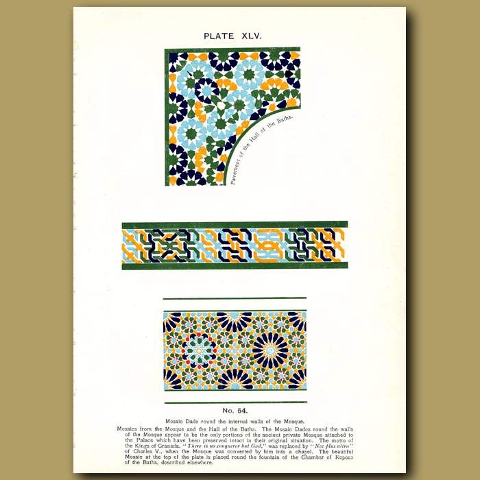 Antique print. Alhambra Palace: Azulejos. Painted tiles