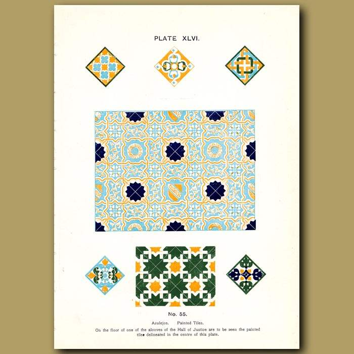 Antique print. Alhambra Palace: Mosaic in the baths