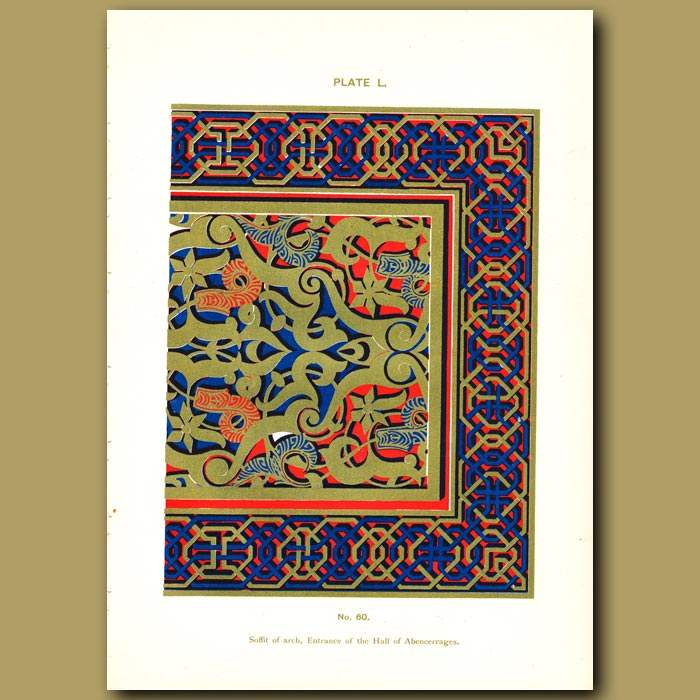 Antique print. Alhambra Palace: Soffit of arch, entrance of the Hall of Abencerrages