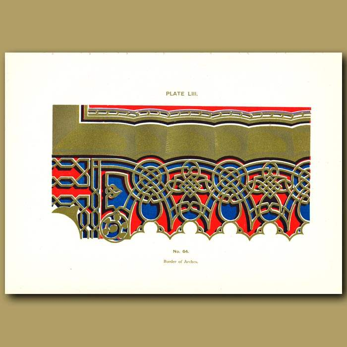 Antique print. Alhambra Palace: Border of arches