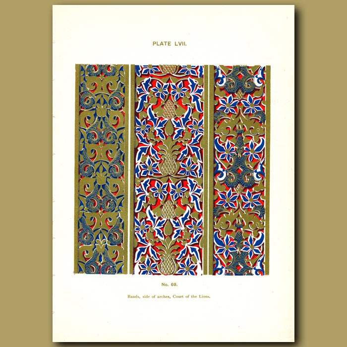 Antique print. Alhambra Palace: Bands, side of arches, Court of the Lions