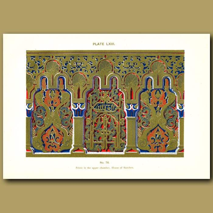 Antique print. Alhambra Palace: Frieze in the upper chamber, House of Sanchez