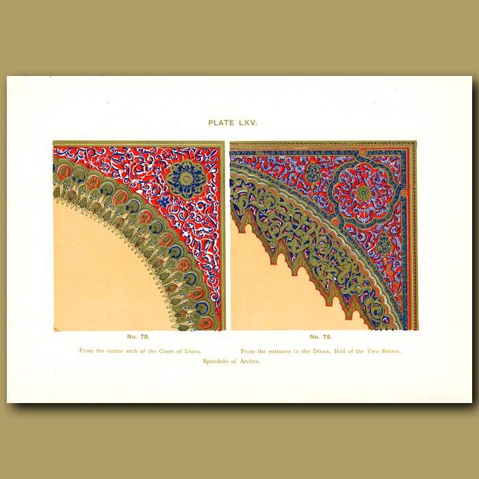 Antique print. Alhambra Palace: Spandril of arches