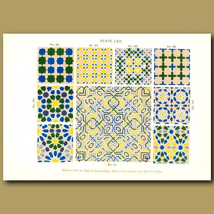 Antique print. Alhambra Palace: Mosaic designs