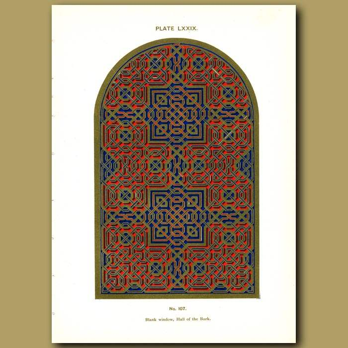 Antique print. Alhambra Palace: Blank window, hall of the bark
