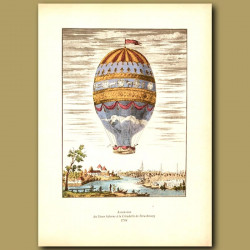 First aerial ascent from the city of Strasbourg in 1784