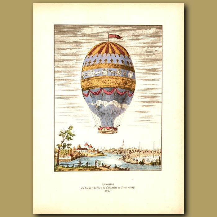 Antique print. First aerial ascent from the city of Strasbourg in 1784