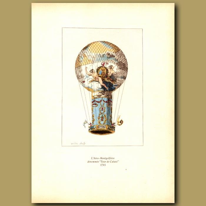 Antique print. Hot air balloon Tour de Calais in 1785